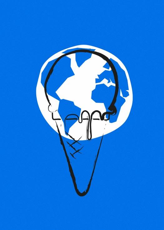 ZN Original: Der Protest-O-Mat Protestmotiv schmelzende Erde