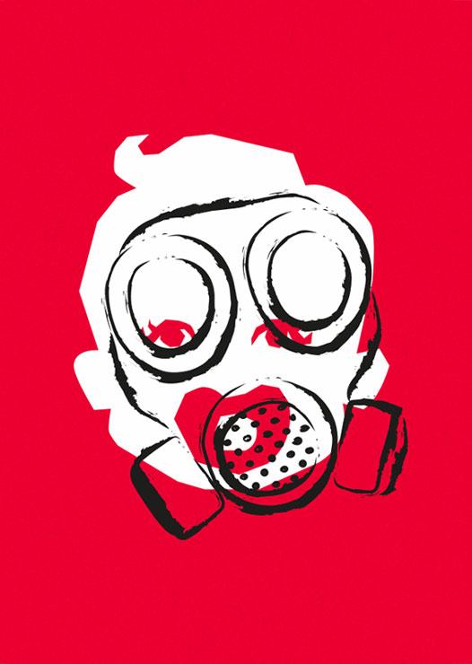 ZN Original: Der Protest-O-Mat Protestmotiv Kind mit Gasmaske