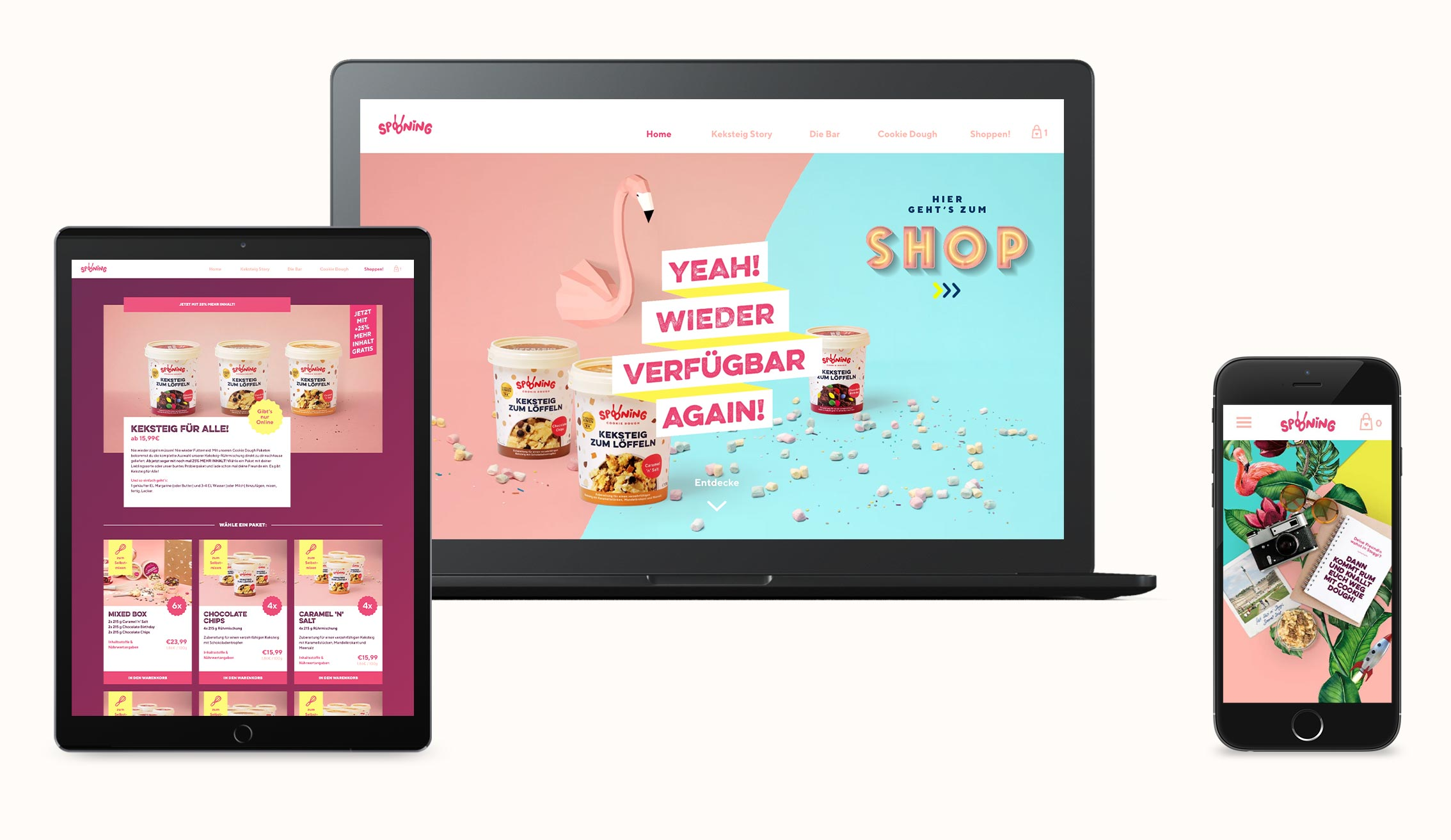ZN Case: Spooning Cookie dough, Webdesign Mockup